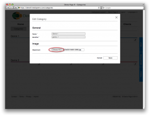 In Content > Categories, click the pencil icon on a Category, then select an image file to upload.